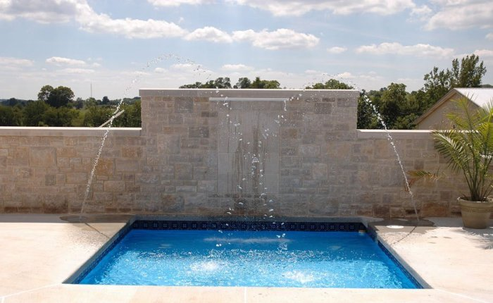 Fountain Spa and Stone Wall
