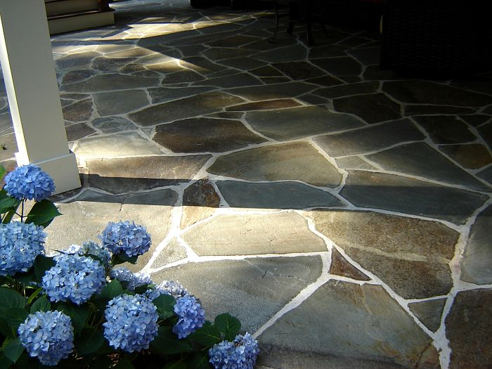 Stone Patio Blue Hydrangea Atlanta Georgia